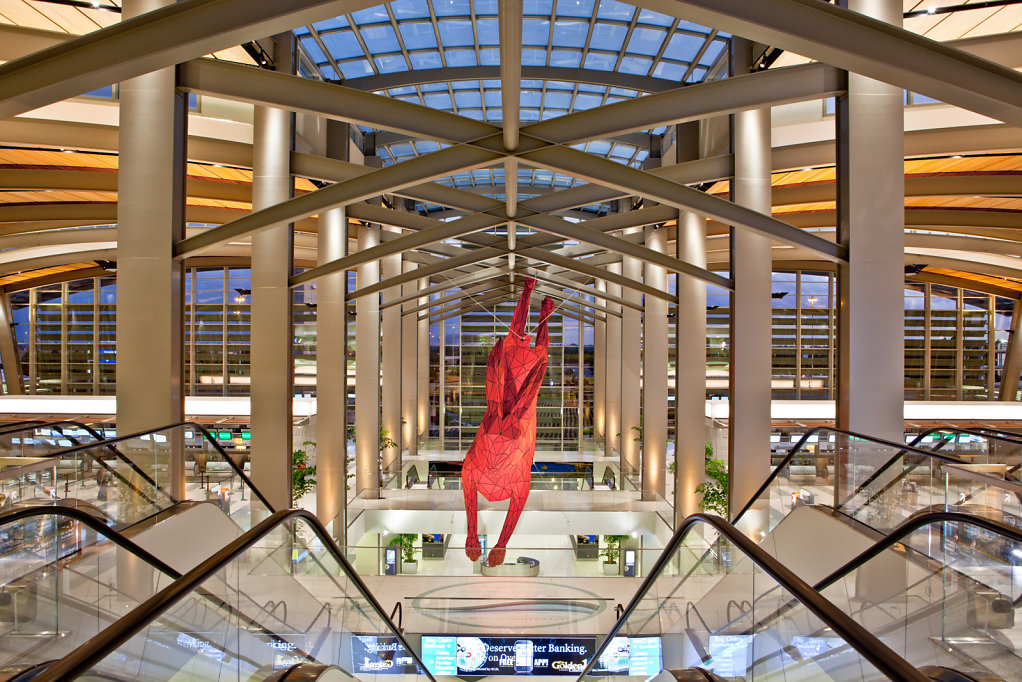 Iconic Red Rabbit Sculpture Inside Sacramento International Airport