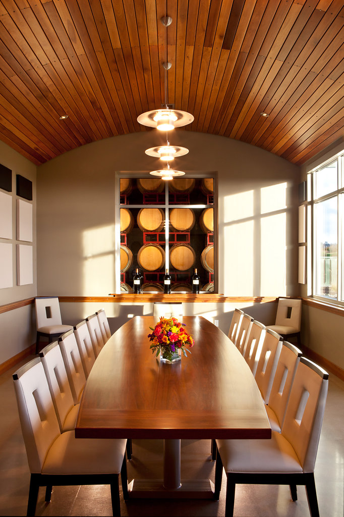 Redwood Oak Table in Modern Architectural Dining Room Inside a Winery