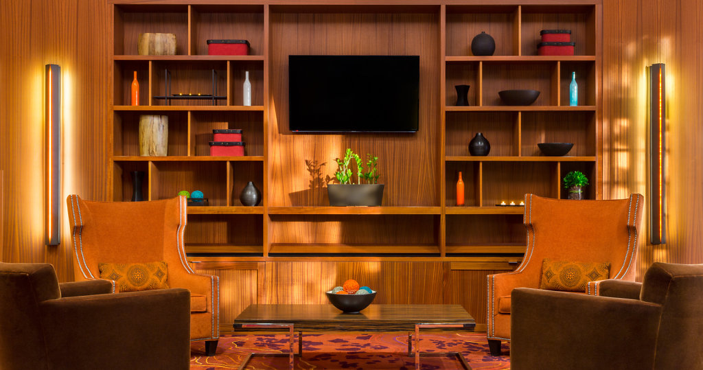 Photograph of Mid-Century Marriott Hotel Lobby, Wood