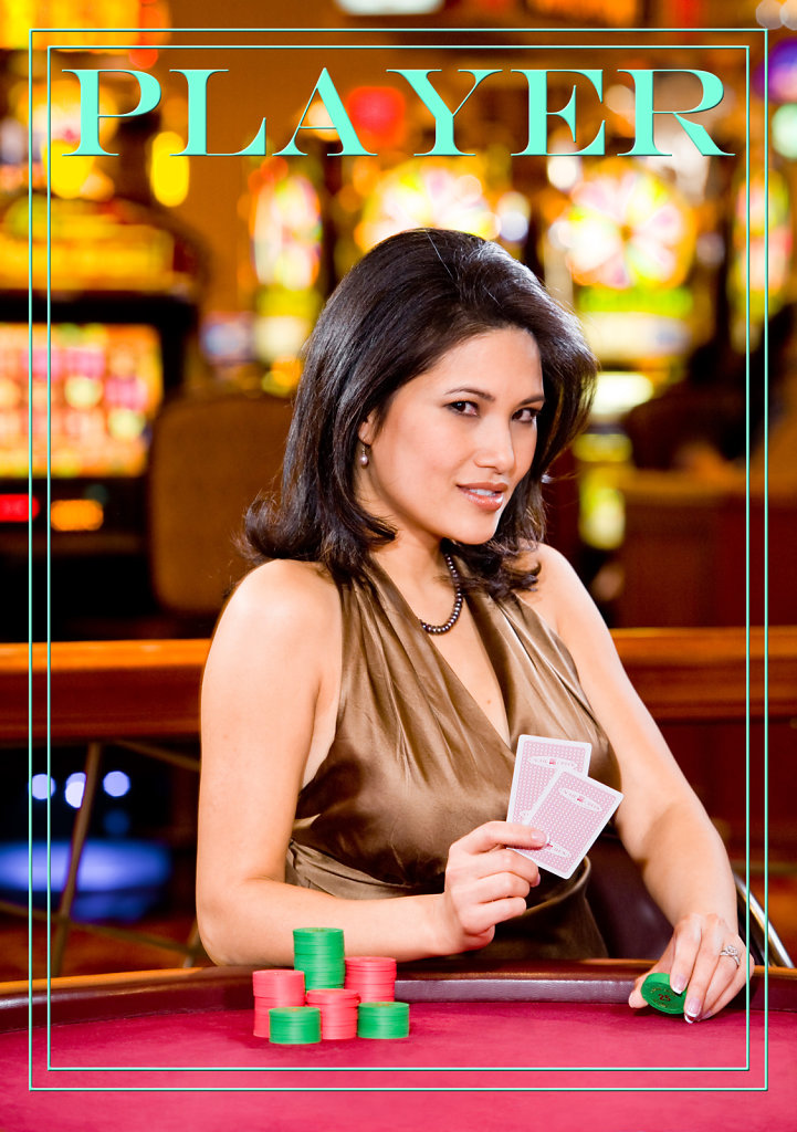 Lady with chips and cards at casino