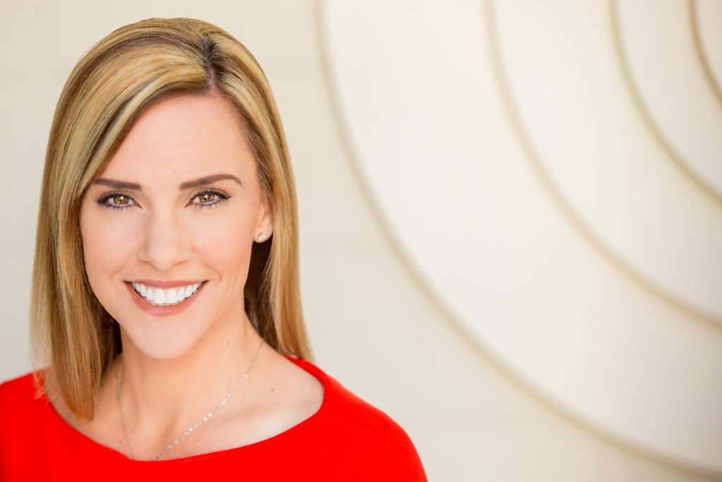 Professional Woman in Red Dress Headshot