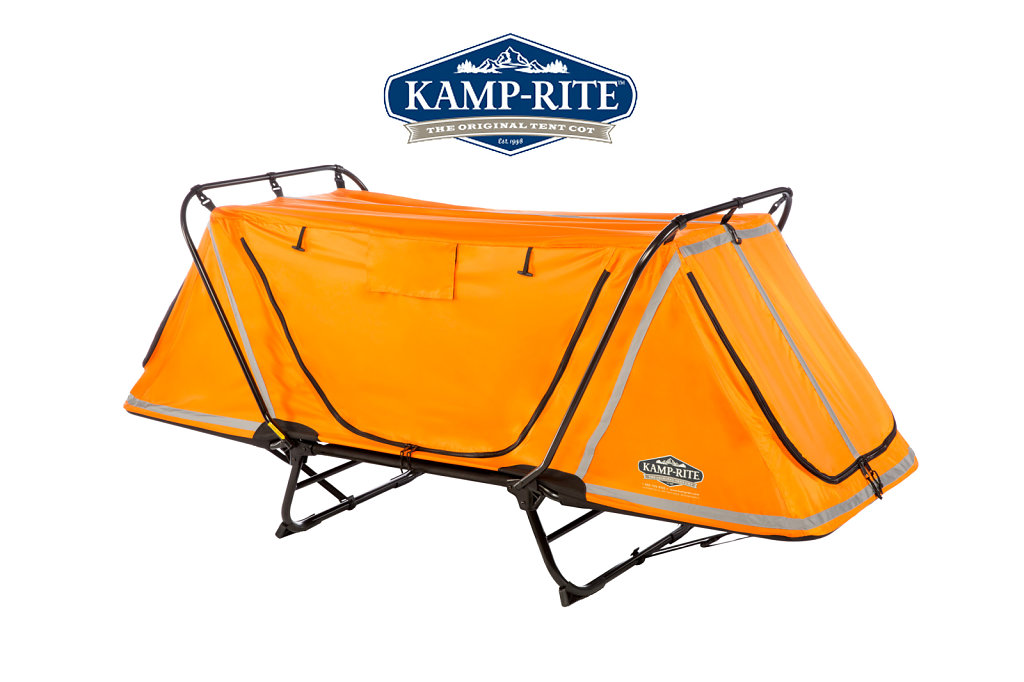 Yellow tent with metal frame in hammock style