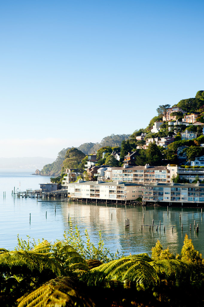 Morning in Sausalito overlooking old marina and apartments on hill