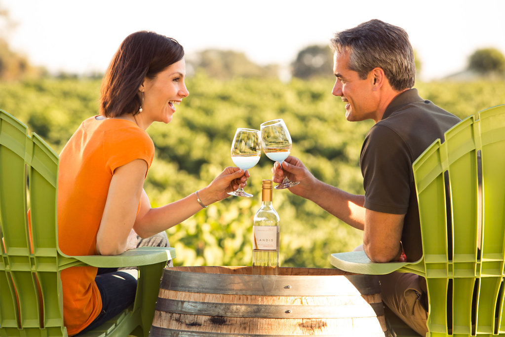 Man and woman sharing white overlooking vineyard