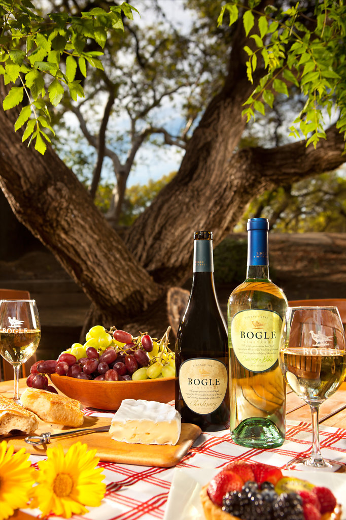 Red and white wine on picnic table with grapes and cheese by oak tree