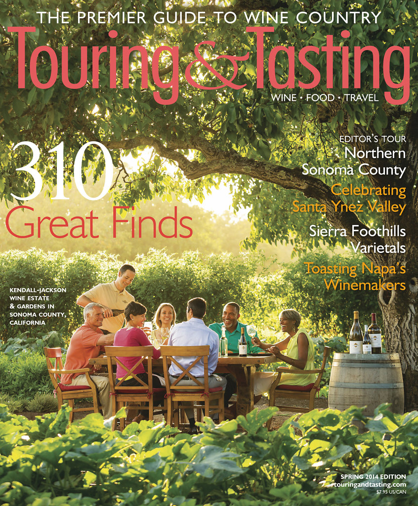 Magazine cover with friends touring and tasting wine in garden