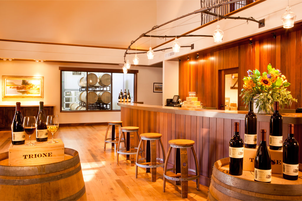 Beautiful wooden wine tasting room