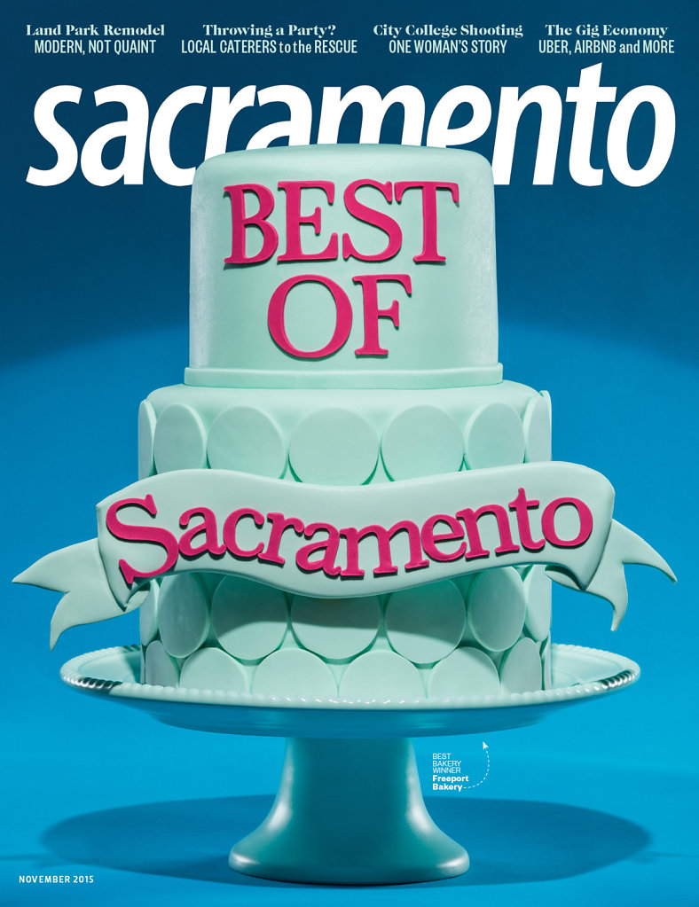 Custom cake on cover of Best of Sacramento Magazine