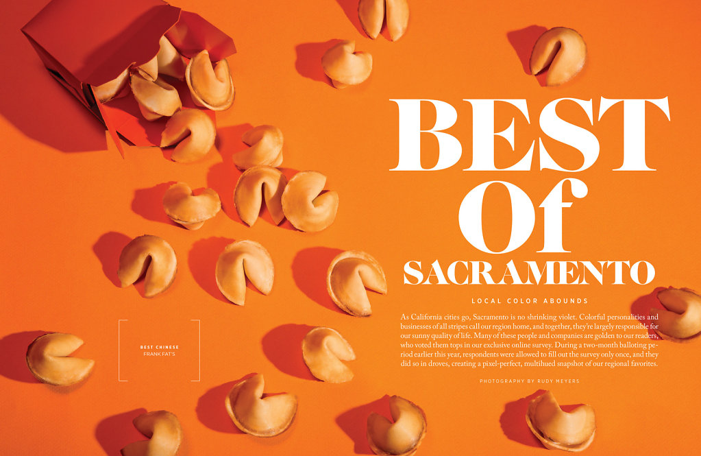 Best of Sacramento magazine spread with fortune cookies