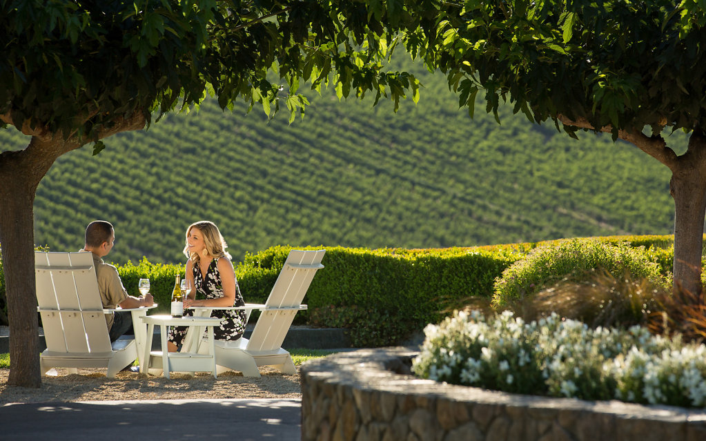 Man and woman enjoying wine at vineyard garden