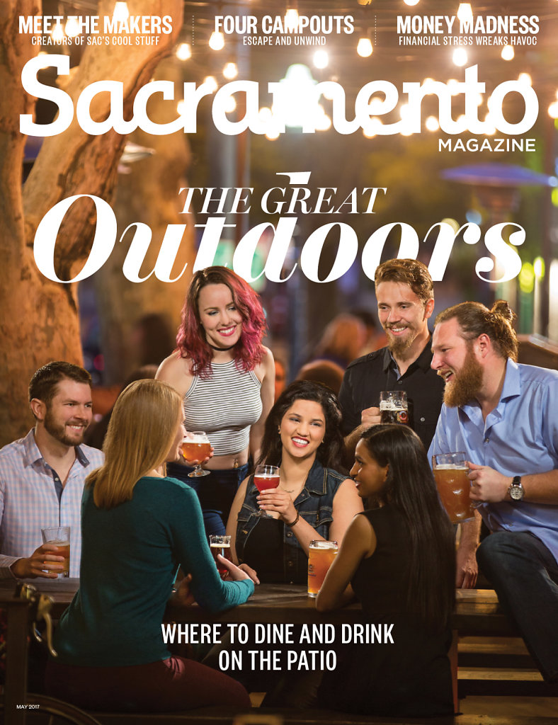 Young adults socializing on Sacramento Magazine's Cover