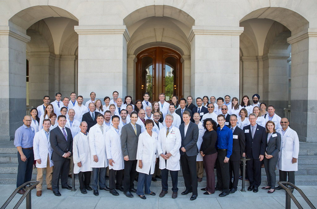 Corporate group portrait at California State Capitol