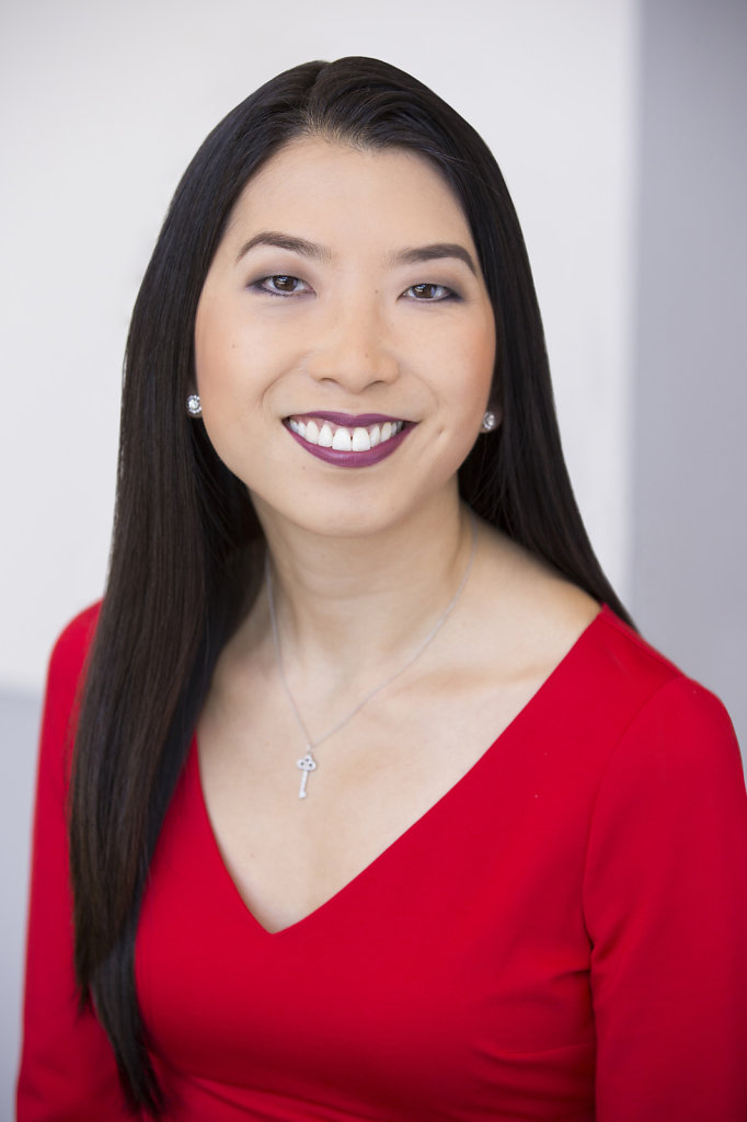Asian Woman Headshot in Red