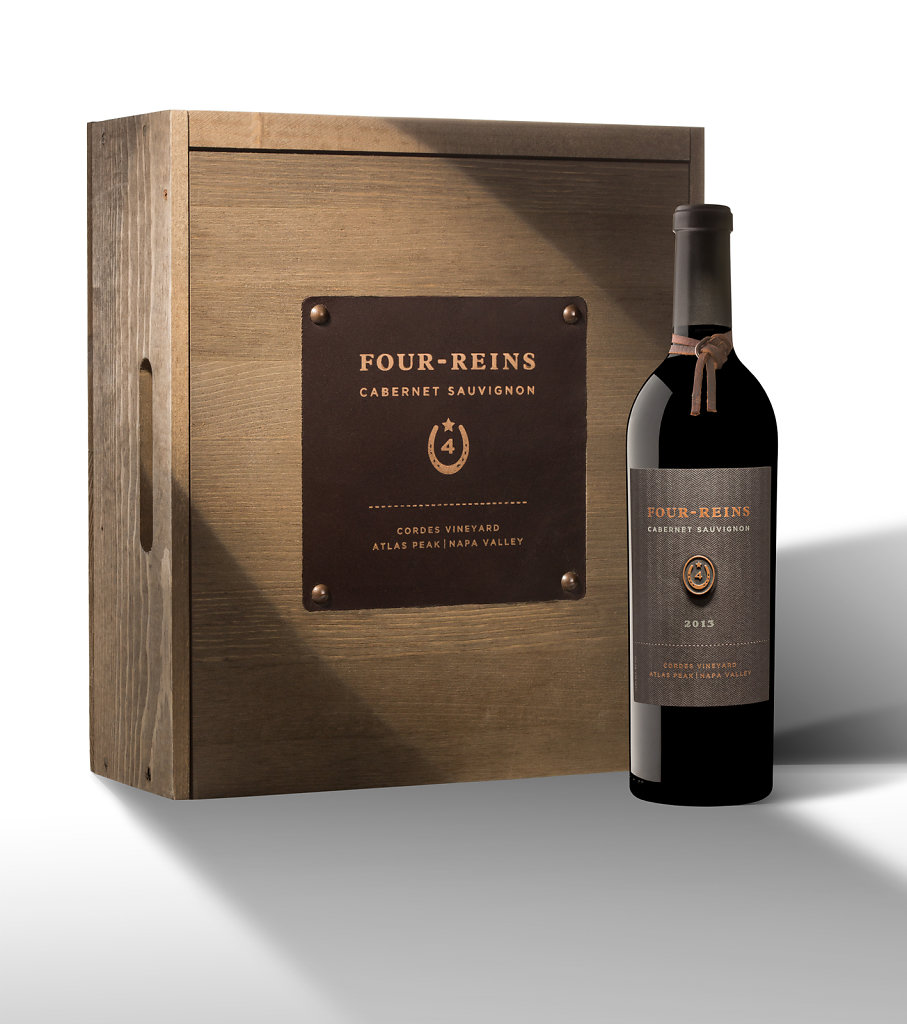 Wine Bottle With Wooden Box on White