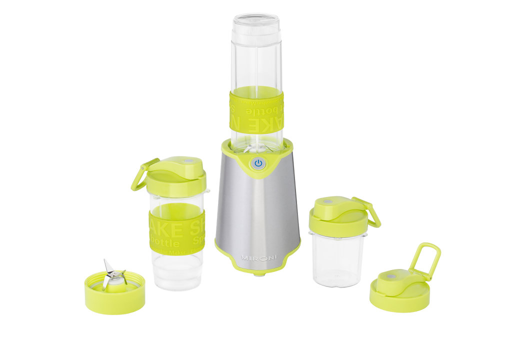Lime green and silver blender with accessories