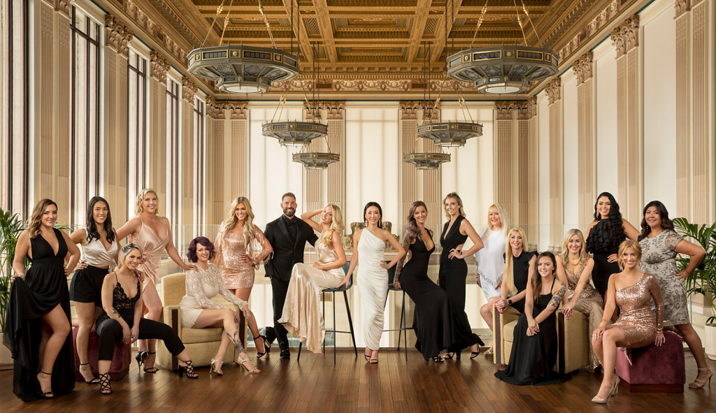 Elegant group portrait Sacramento women in evening gowns
